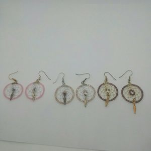 3 Pairs of handmade Dreamcatcher Earrings